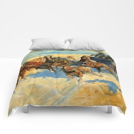 """Frederic Remington Western Art """"Downing the Nigh Leader"""" Comforters"""