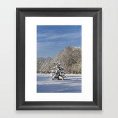Snowy Christmas Tree Framed Art Print