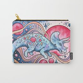 Star Tricera   Cosmic Dinosaur Watercolor Carry-All Pouch