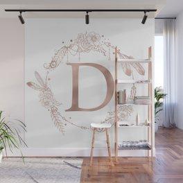 Letter D Rose Gold Pink Initial Monogram Wall Mural