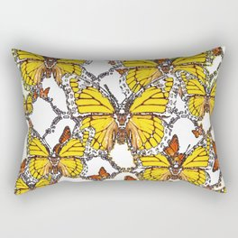 ABSTRACT LACEY PATTERN MONARCH BUTTERFLIES DESIGN Rectangular Pillow