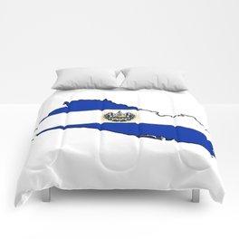 El Salvador Map with Salvadoran Flag Comforters