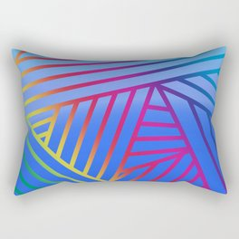 Rainbow Ombre Pattern with Blue Background Rectangular Pillow