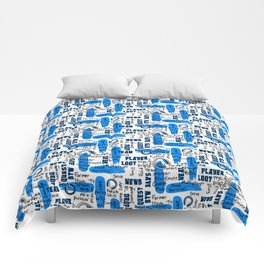 Gamer Lingo-White and Blue Comforters