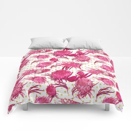 Pink and Gold Australian Native Floral Pattern - Protea, Grevillea and Eucalyptus Comforters