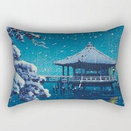Tsuchiya Kôitsu Japanese Woodblock Vintage Print Blue Winter Snow Pagoda On Lake Rectangular Pillow