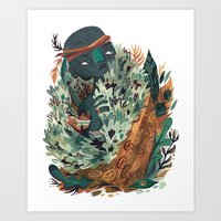 hunter Art Prints featuring Hunter by pam wishbow