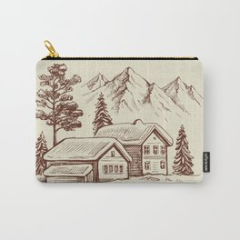 Wood Cabin in Winter Landscape Carry-All Pouch