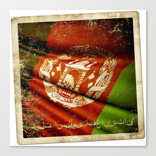 Grunge sticker of Afghanistan flag Canvas Print