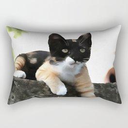 Just Chillin Tricolor Cat Rectangular Pillow