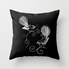White Fantails  Throw Pillow