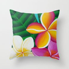 Three Pretty Plumerias Throw Pillow
