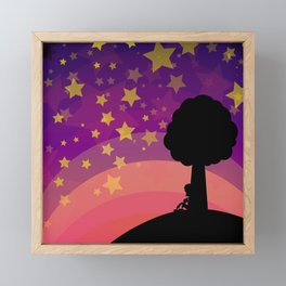 Kid looking to the sky in the late evening Framed Mini Art Print