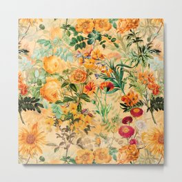 Vintage & Shabby Chic -  Sunny Gold Botanical Flowers Summer Day Metal Print