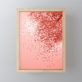 Sparkling Living Coral Lady Glitter #1 #shiny #decor #art #society6 Framed Mini Art Print