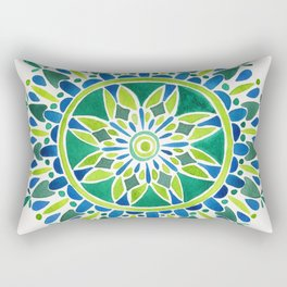 Watercolor Mandala – Green Rectangular Pillow