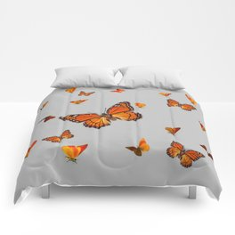 FLOCK OF ORANGE MONARCH BUTTERFLIES ART Comforters