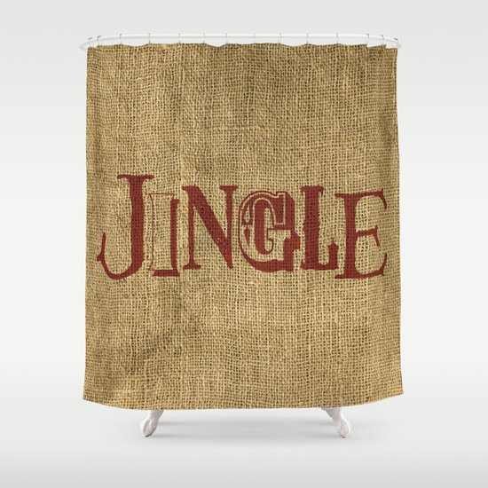 Jingle Burlap Shower Curtain
