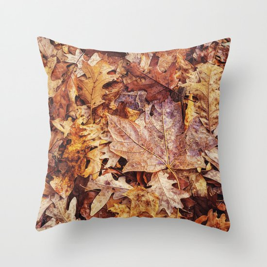 among the oak leaves Throw Pillow