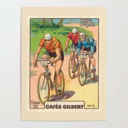 Cyclisme Cyclists Vintage Graphic Cycling Poster
