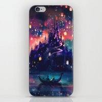 blue iPhone & iPod Skins featuring The Lights by Alice X. Zhang