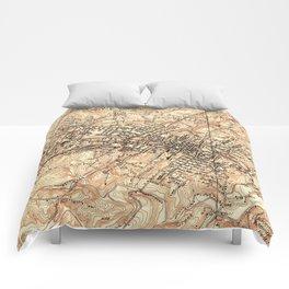 Vintage Map of Charlottesville Virginia (1960) Comforters