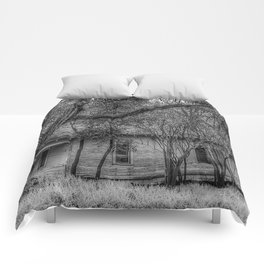 Shadows and Tall Trees - Black And White Comforters