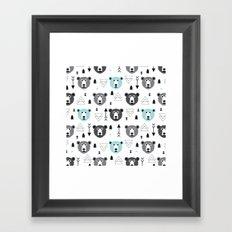 Geometric grizzly bear and arrows Framed Art Print