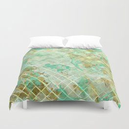 Turquoise & Gold marble mosaic Duvet Cover