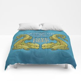 Dive Deep - Gold Dolphins Comforters