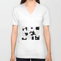 Squares - gray, black and white Unisex V-Neck