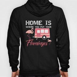 Home Is Where You Put Your Flamingos, Pink Flamingo Gift, Funny Flamingo Hoody