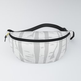 Woodcut Birches Grey Fanny Pack