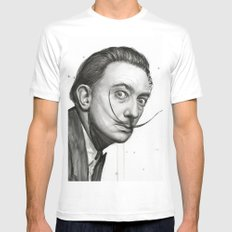 Salvador Dali Watercolor Portrait Mens Fitted Tee White X-LARGE