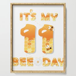 It's My 11th Bee Day - 11 Years Old Birthday Party Girl graphic Serving Tray