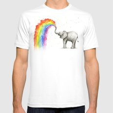 Baby Elephant Spraying Rainbow Whimsical Animals Mens Fitted Tee White MEDIUM