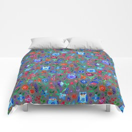Little Owls and Flowers on Grey Comforters