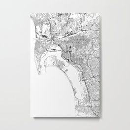 San Diego White Map Metal Print