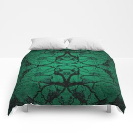 Green cracked wall Comforters