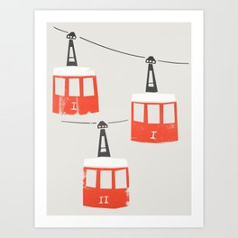 Barcelona Cable Cars Art Print