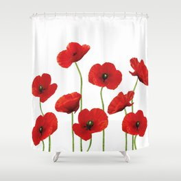 Poppies Field white background Shower Curtain