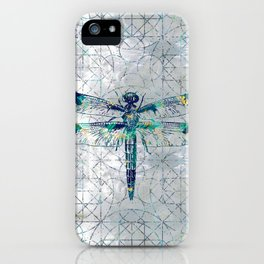 Gemstone Dragonfly on sacred geometry pattern iPhone Case