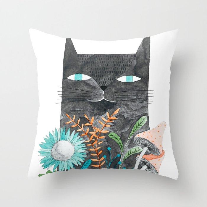 grey cat with botanical illustration Throw Pillow