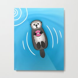 Sea Otter with Donut - Cute Otter Holding Doughnut Metal Print