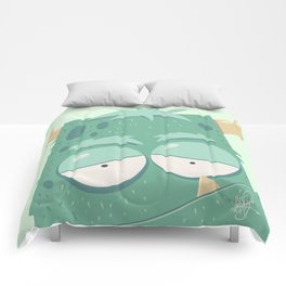 Cute Monster Green Comforters