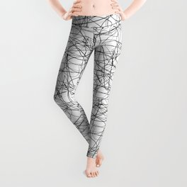 Abstract pen drawing - black and white pattern Leggings
