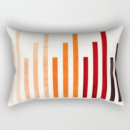 Brown Minimalist Abstract Mid Century Modern Staggered Thin Stripes Watercolor Painting Rectangular Pillow