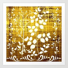 White leaves decor on golden background Art Print