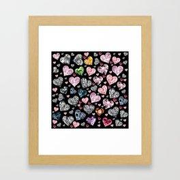 Heart Diamonds are Forever Love Black Framed Art Print