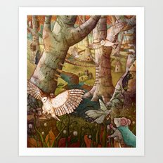 Of Mice and Owls Art Print